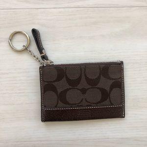 Coach wallet keychain leather monogram brown
